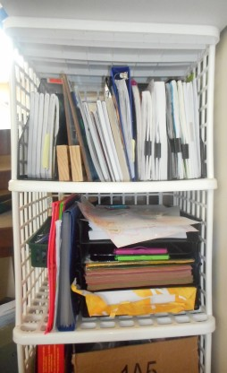 Basic Homeschooling supplies organizational shelf